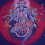 Кали — Сила-энергия Вселенной, супруга Шивы. Кали переводится как черная; тысячерукая воинственная форма Дурги